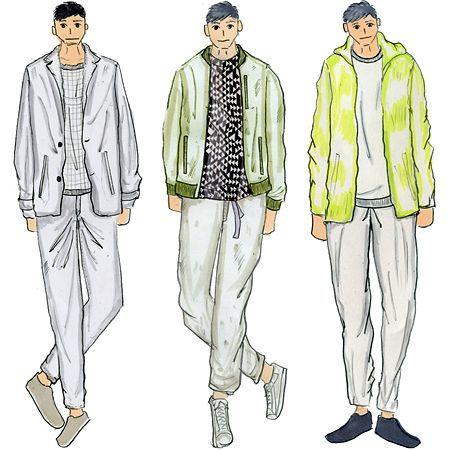 メンズのスタイリング。左が「アクティブスーツのビジカジ(パッカブル・アンコンセットアップ)」、中央が「ブルゾンルックのカジビジ(ブルゾンとカジュアルパンツ)」、右が「マウンテンブルゾンとジョグパンツのアスレジャー」。